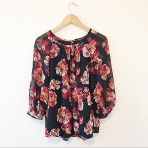 Madewell Red & Black Floral Blouse Size Small